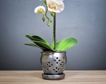 """Hilo 2018 Edition (LARGE 7.0"""") Handmade Ceramic Orchid Pot With Attached Saucer, Glazed Pottery, Glazed Pottery, Orchid Planter"""