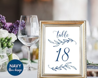 Navy Blue Wedding Table Numbers 1–40, Reserved and Head Table Signs Included, Two Sizes 5x7 and 4x6, TN09, VW00
