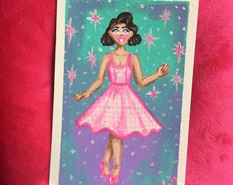 Pink gingham dress pastel pinup cute fine art print