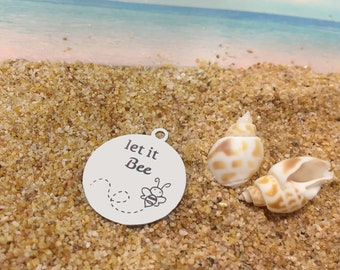 let it bee - **Exclusive Line** Stainless Steel 2 Sides Polished Round Engraved Charm