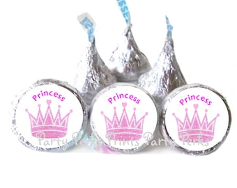 Princess Birthday Party Favors Pink Crowns Candy Stickers Labels / Girl Baby Shower / 1st First Birthday
