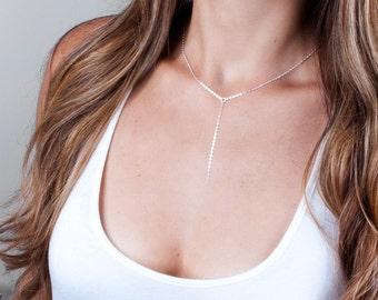 Silver Y Necklace, Delicate Y Necklace, Silver Lariat Necklace, Silver Layered Necklace, Choker Y Necklace, Sterling Silver Necklace Drop