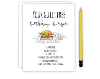 Friend Birthday Card - Birthday Burger - Birthday Card - Burger card