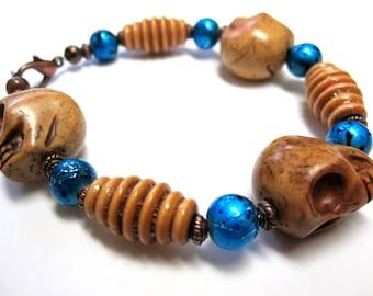 Day Of The Dead Bracelet Sugar Skull Jewelry Strand Brown Blue