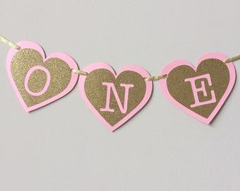 Pink and Gold High Chair Banner. Hearts First Birthday Decorations. ONE High Chair Banner. Pink and Gold Party. Little Pr