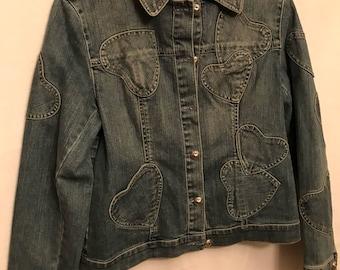 Original brighton XL denim jacket with heart patches