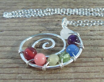 Gemstone Sterling Silver Chakra Necklace - Spiritual Necklace, Chakra Necklace, Rainbow Necklace, Pride Necklace, Yoga Necklace, Zen