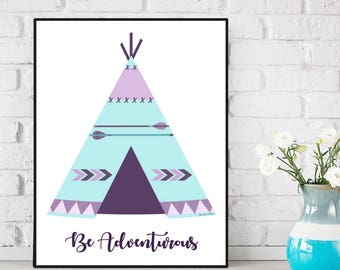 Teepee poster, Boho nursery decor, Baby illustration, Poster quote baby, Nursery art print, Children poster, Kids room decor, Baby gift
