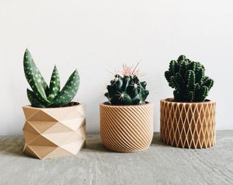Set of 3 small geometric minimalist Pots / Planters Design Hygge printed in Wood perfect for succulents or cacti Original gift Mother's Day