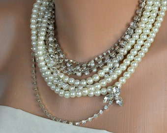 Rhinestone and  Glass Pearl Necklace brides Wedding Bridal Jewelry Pearl Necklace Layered Bridal Necklace Statement Wedding Necklace