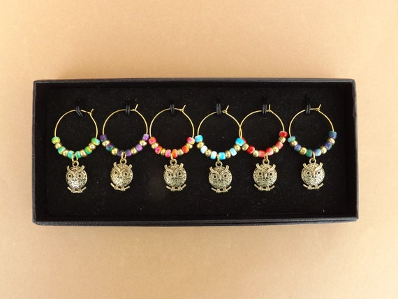 Owls  G/T Wine Glass Charms Set
