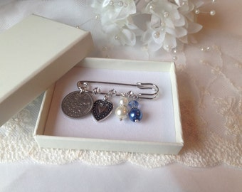 Something Blue Bridal Pin something old, New, Borrowed, weddings, Gift for a Bride,  Bridal Shower