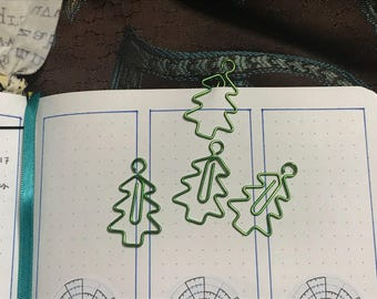 Cute Metallic Green Christmas or Pine Tree-shaped Paperclip, by the pair.