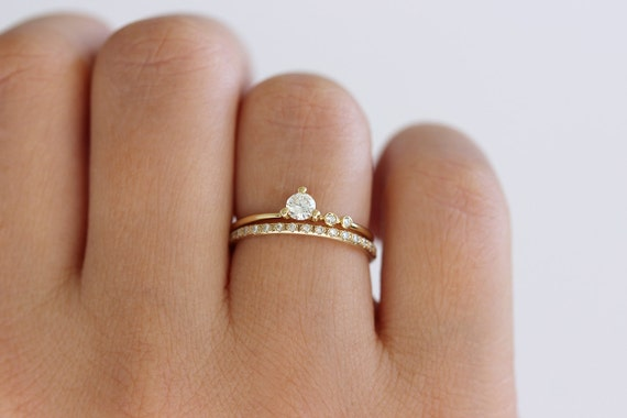 engagement ring asymmetric diamond ring round diamond ring minimalist diamond delicate engagement ring round cut diamond gold ring - Dainty Wedding Rings