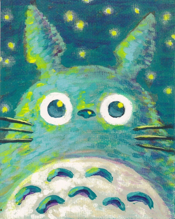 Totoro At Night Painting Acrylic Print Studio Ghibli