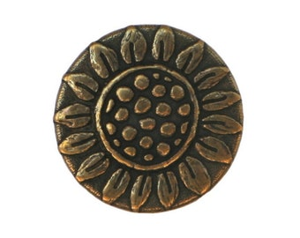 6 Rustic Sunflower 11/16 inch ( 18 mm ) Metal Buttons Antique Brass Color