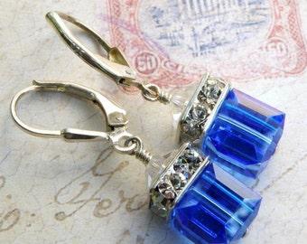 Royal Blue Earrings, Swarovski Crystal Cube Earrings, Sapphire Drop Dangle, Sterling Silver. Bridesmaid Earrings, Wedding Jewelry, Handmade