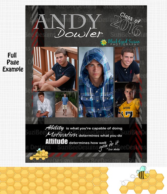 Masculine Yearbook Ad High School Senior Middle Or Templates