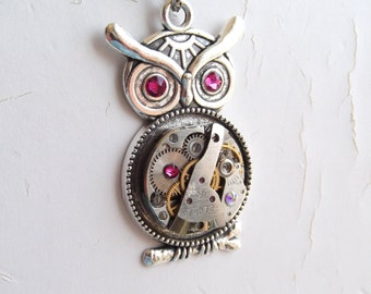 Steampunk Fuchsia Lucky Owl Necklace Vintage Watch Movement