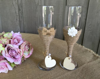 Jute wrapped champagne glasses/ his & hers champagne glasses/ flutes/ champagne flutes/ decorated champagne glasses/ rustic wedding/ wedding