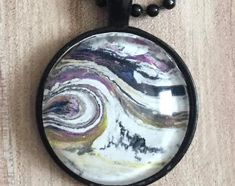 Pendant Necklace, Vintage Retro Vibe, Black, Fashion Jewelry, Boho, Hippie, Abstract Art, One of a Kind, 25mm Cabochon