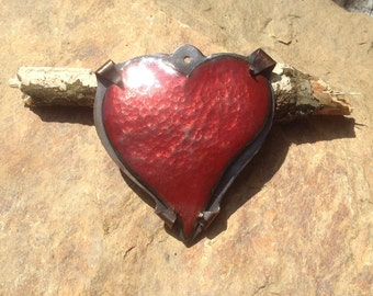 copper enamel,pendant, heart,torch fired,handmade,