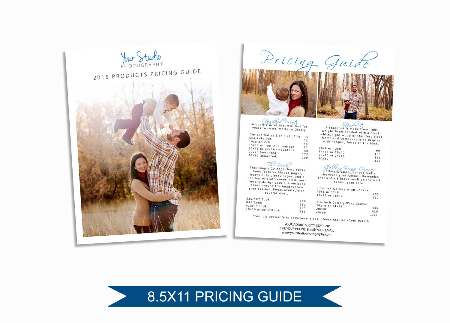 Photographer Price List Photoshop Pricing Guide Template