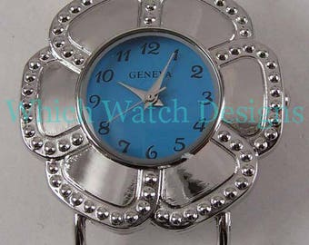 CLEARANCE Plain Flower.. Darling Colored Ribbon Watch Face, Interchangeable, Stainless Steel