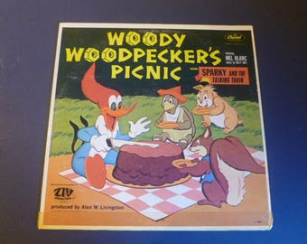 Woody Woodpecker's Picnic Includes Sparky And The Talking Train Featuring Mel Blanc Vinyl Record LP L-6961 Capital Records 1975