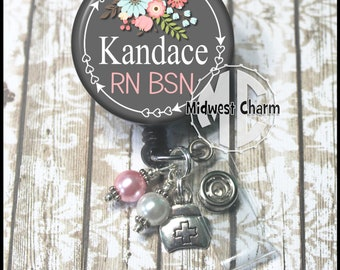 Floral gray with dangles .. with or without charm and rhinestone retractable badge holder clip Personalized custom badge