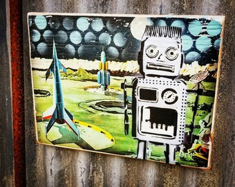 Robot in Space Mixed Media Graffiti Art Painting on Photo Transfer Original Art on Handmade Canvas Home Decor  Vintage Space Toy
