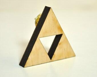 Triforce birchwood brooch fanart triangle geometric