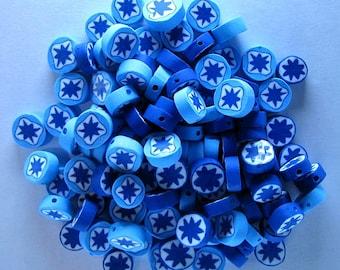 100 Polyclay Snow Flake Beads - 2 Styles - Destash Sale