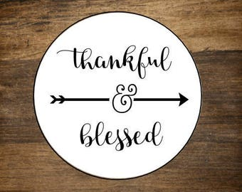 """Thanksgiving favor labels, 2"""" round stickers, set of 20. Thankful & Blessed with arrow. Matte white or Kraft brown."""