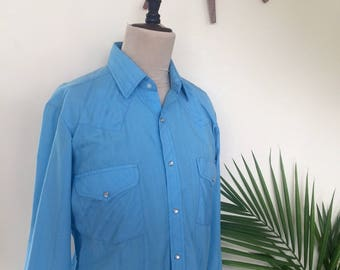 70s Western Shirt, Sky Blue, Satin Stripes, Pearl Snaps, Rock Creek Ranch, 33-34