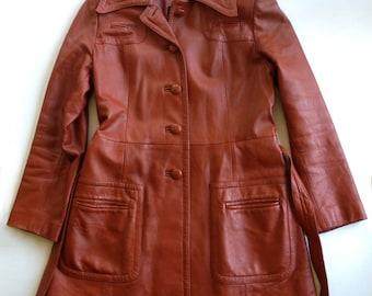 1970s Burnt Sienna Short Leather Coat Mint