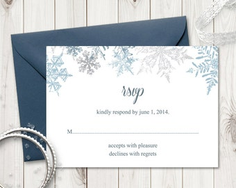 """Wedding RSVP Card Template """"Snowflakes"""", Silver. DIY Printable Winter Wedding Response Cards. Editable Text, MS Word. Instant Download."""
