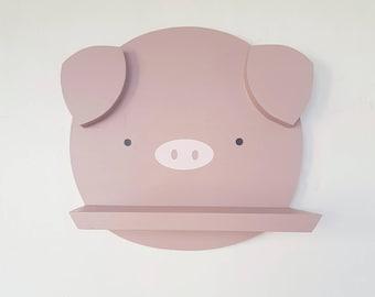 Cute wooden pig shelf - modern pig face shelf - handmade floating pig shelf