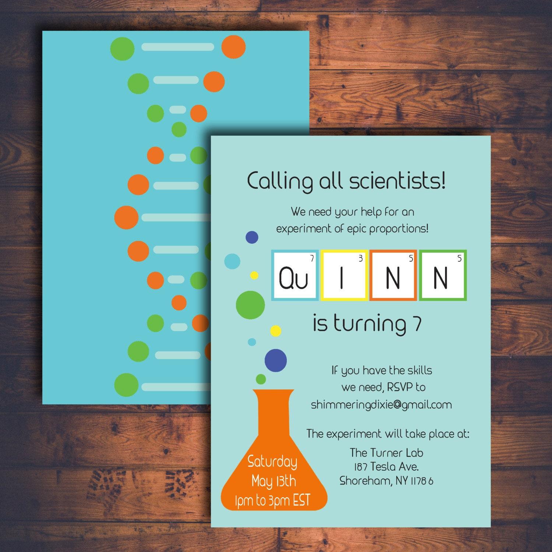 Science Birthday Party Birthday Printable Digital Invitation