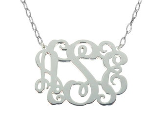 Sale Sterling Silver Monogram Necklace Any Initial Monogram Necklace 2 inch Personalize Silver Monogram Necklace