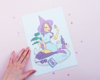 Riverdale Witch Series Veronica Lodge, A4, Pastel, Plants, Betty Cooper, Cheryl Blossom, Archie Comics, Art, Illustration, Print, Poster