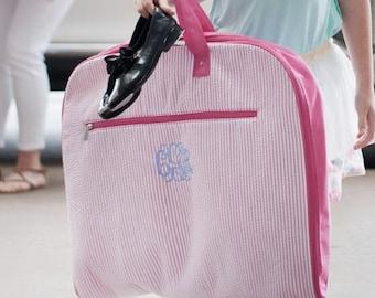 Monogrammed Pink Seersucker Garment bag ~ custom seersucker hanging bag