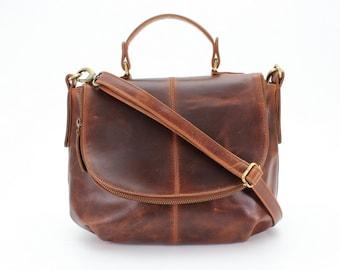 Leather Cross Body Handbag, shoulder bag, Purse, Brown