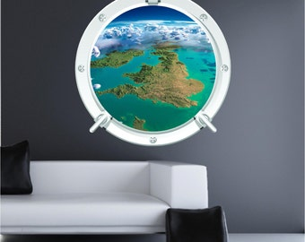 Space England 1 Austronaut Earth Bedroom Porthole Wall Art Sticker Decal WAP-P103T
