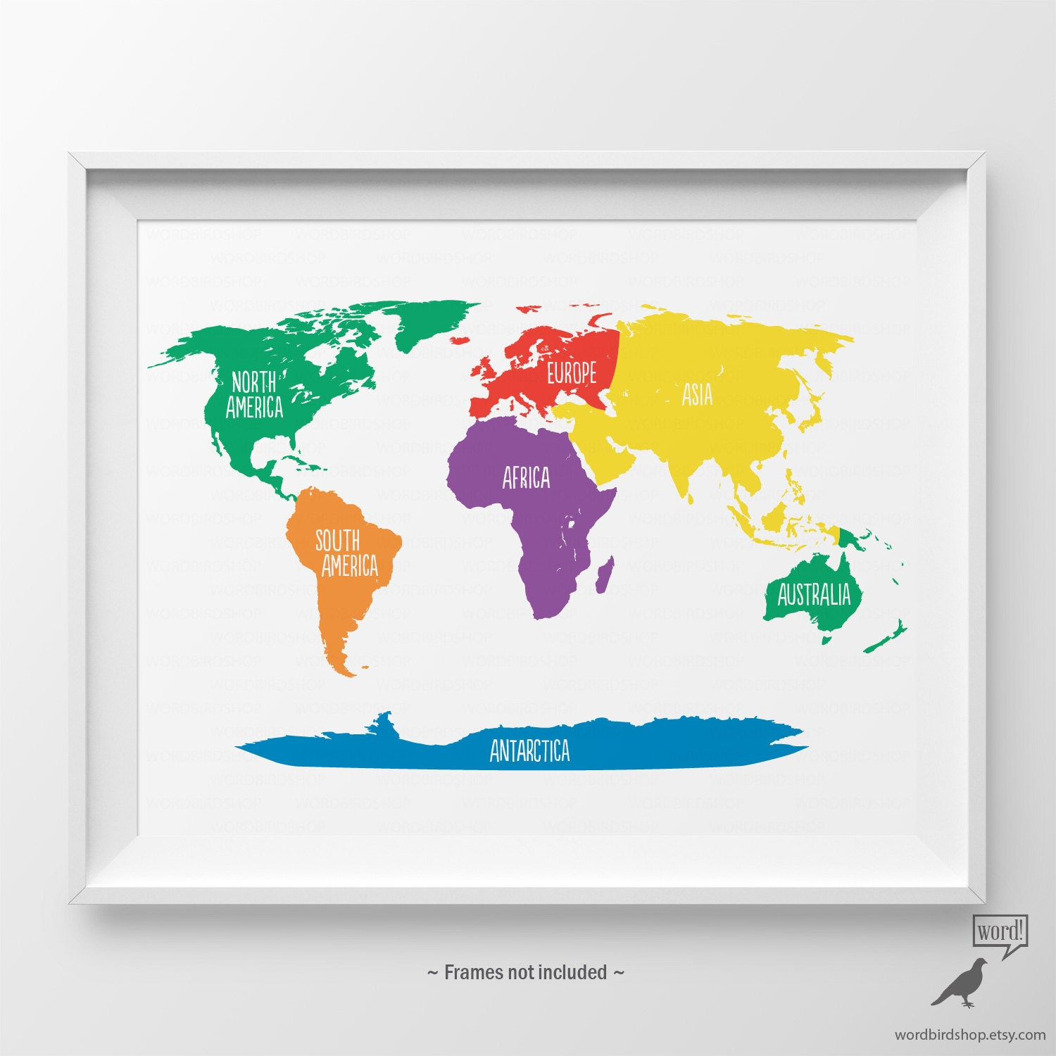 Primary Colors Nursery World Map Kids Wall Art Playroom Wall - World map for playroom