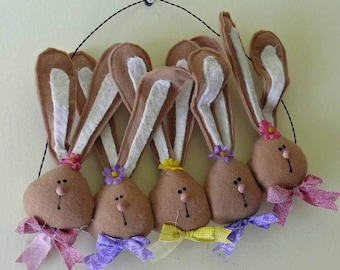 Spring Fabric Easter Bunny Rabbit Wall Hanging - We're All Ears