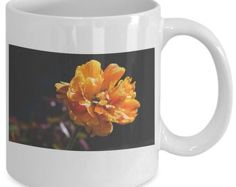 Orange peony flower mug - ceramic coffee and tea cup