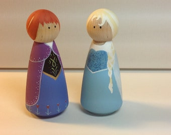 """Peg people Frozen - Anna and Elsa 3.5"""" tall black friday special"""