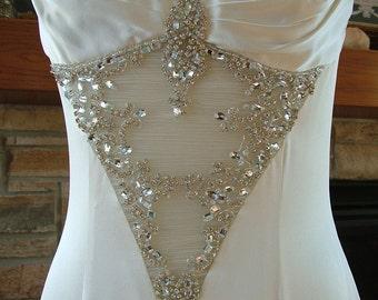 Wedding dress 1930s vintage inspired bias cut godet skirt rhinestone bling bridal gown