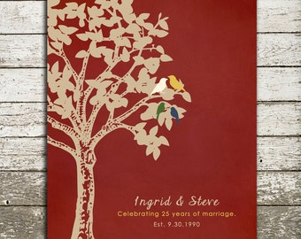 25th ANNIVERSARY Gift Print - Gift for Him or Her - Personalized Print with Birds in a Tree - Custom Wall Art